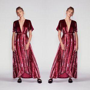 Free People NWT Red Kara Velvet Wrap Maxi Dress